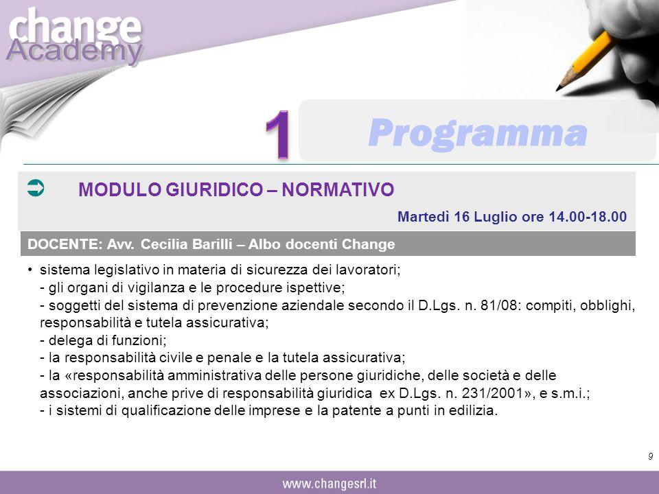 1 Programma MODULO GIURIDICO – NORMATIVO