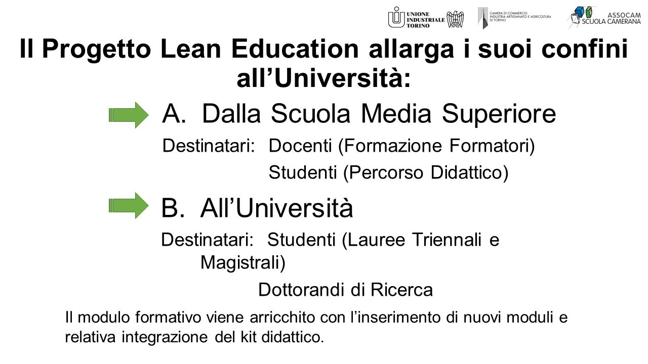 Il Progetto Lean Education allarga i suoi confini all'Università: