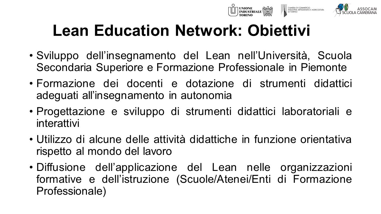 Lean Education Network: Obiettivi