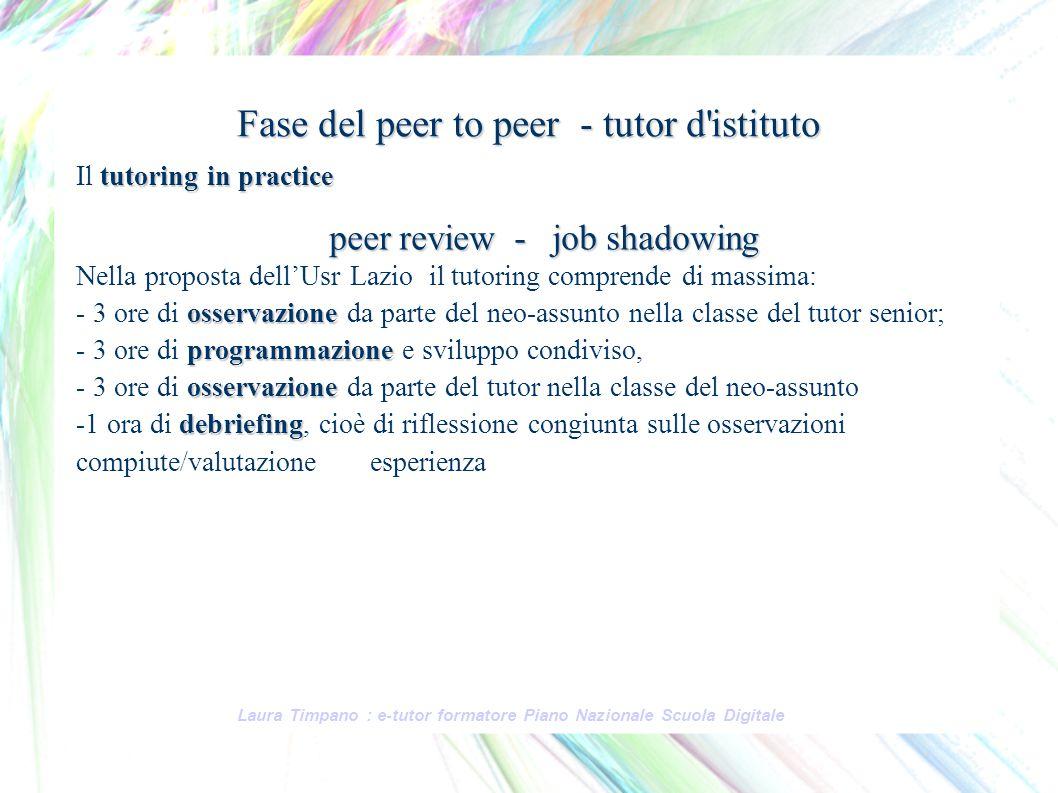 Fase del peer to peer - tutor d istituto