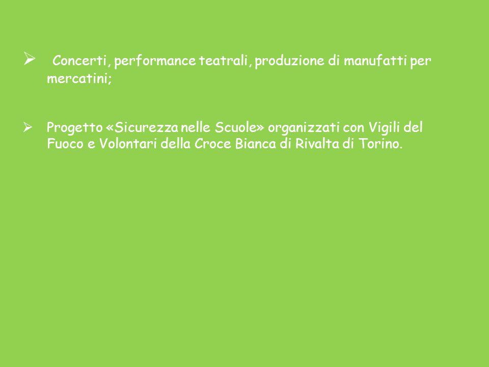 Concerti, performance teatrali, produzione di manufatti per mercatini;