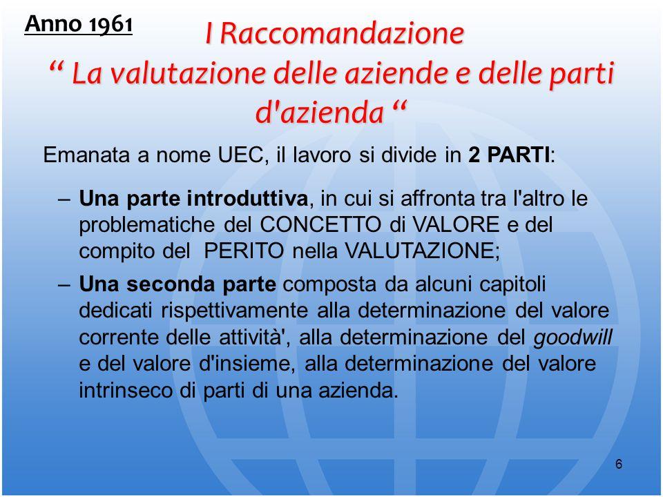 Anno 1961 I Raccomandazione La valutazione delle aziende e delle parti d azienda Emanata a nome UEC, il lavoro si divide in 2 PARTI:
