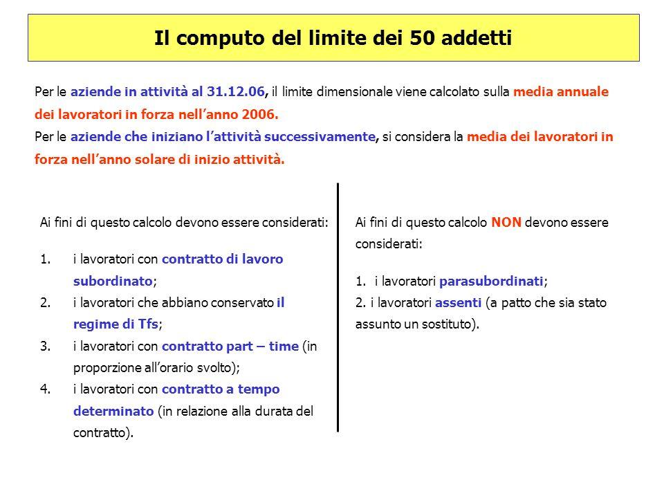 Il computo del limite dei 50 addetti