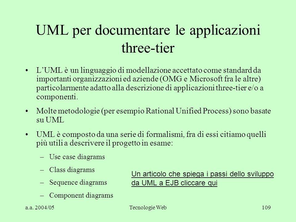 UML per documentare le applicazioni three-tier