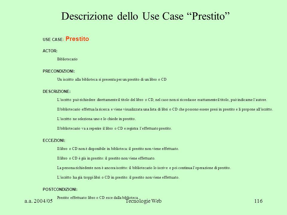 Descrizione dello Use Case Prestito