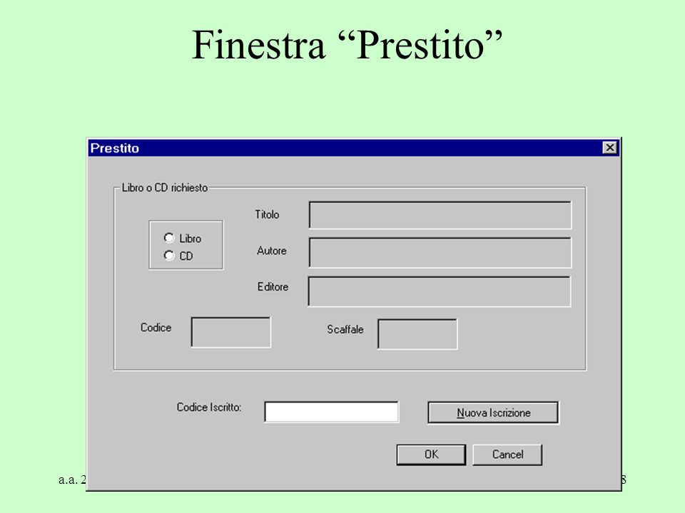 Finestra Prestito a.a. 2004/05 Tecnologie Web