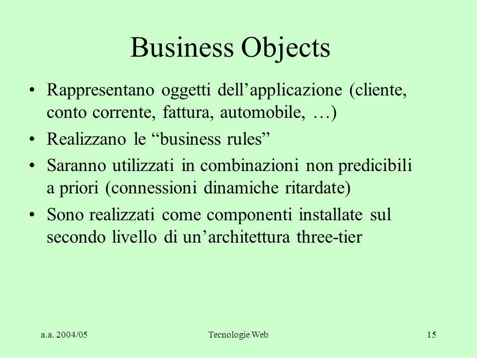 Business Objects Rappresentano oggetti dell'applicazione (cliente, conto corrente, fattura, automobile, …)
