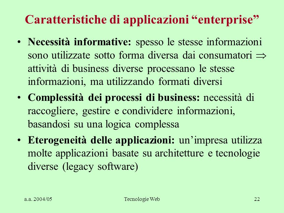 Caratteristiche di applicazioni enterprise