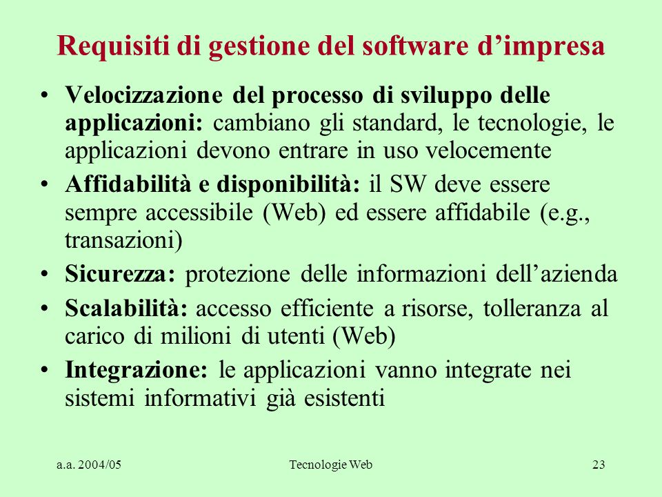 Requisiti di gestione del software d'impresa