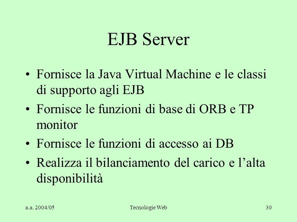EJB Server Fornisce la Java Virtual Machine e le classi di supporto agli EJB. Fornisce le funzioni di base di ORB e TP monitor.