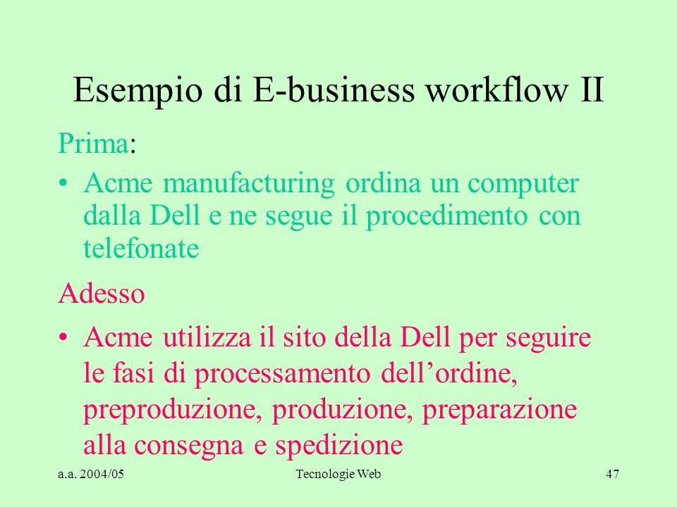 Esempio di E-business workflow II