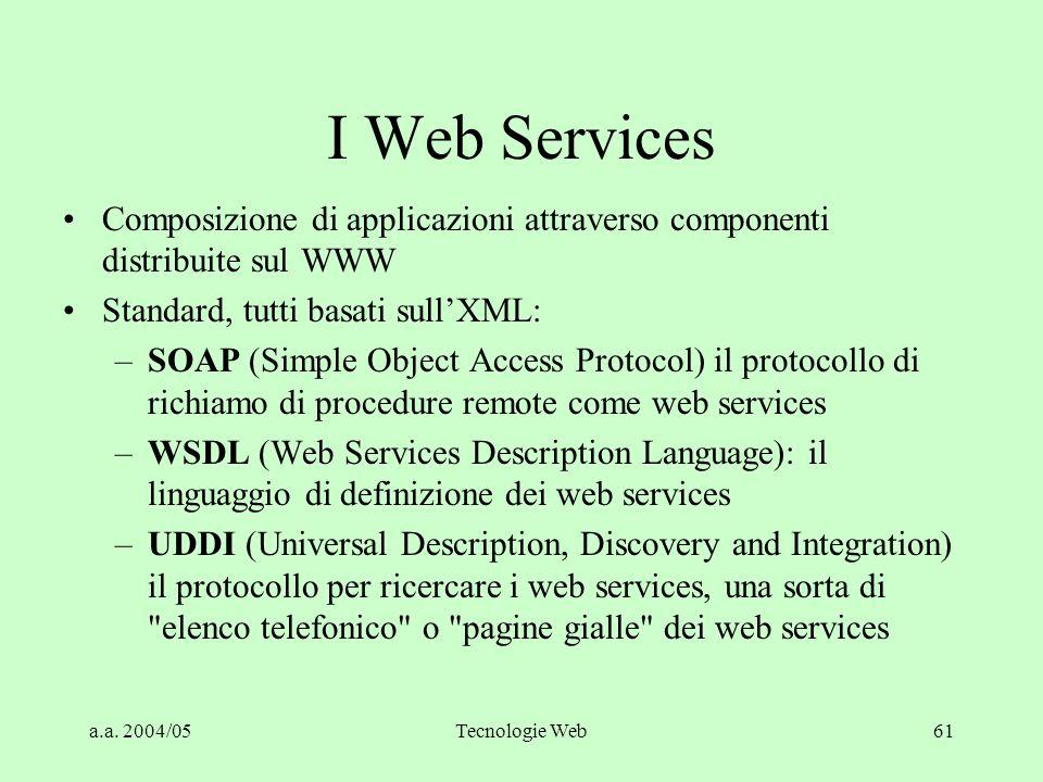 I Web Services Composizione di applicazioni attraverso componenti distribuite sul WWW. Standard, tutti basati sull'XML: