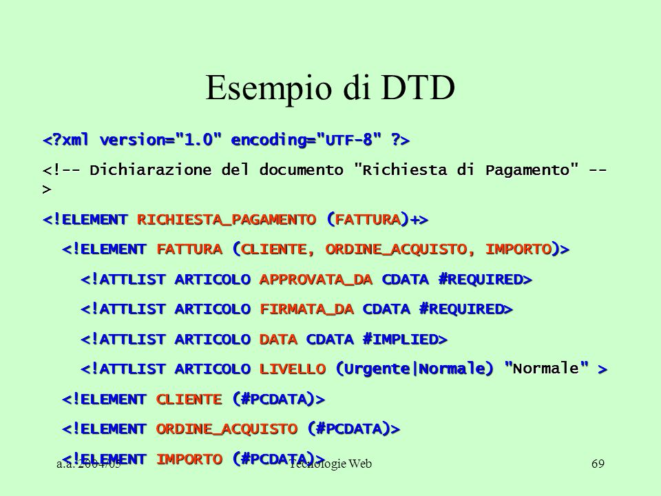 Esempio di DTD < xml version= 1.0 encoding= UTF-8 >