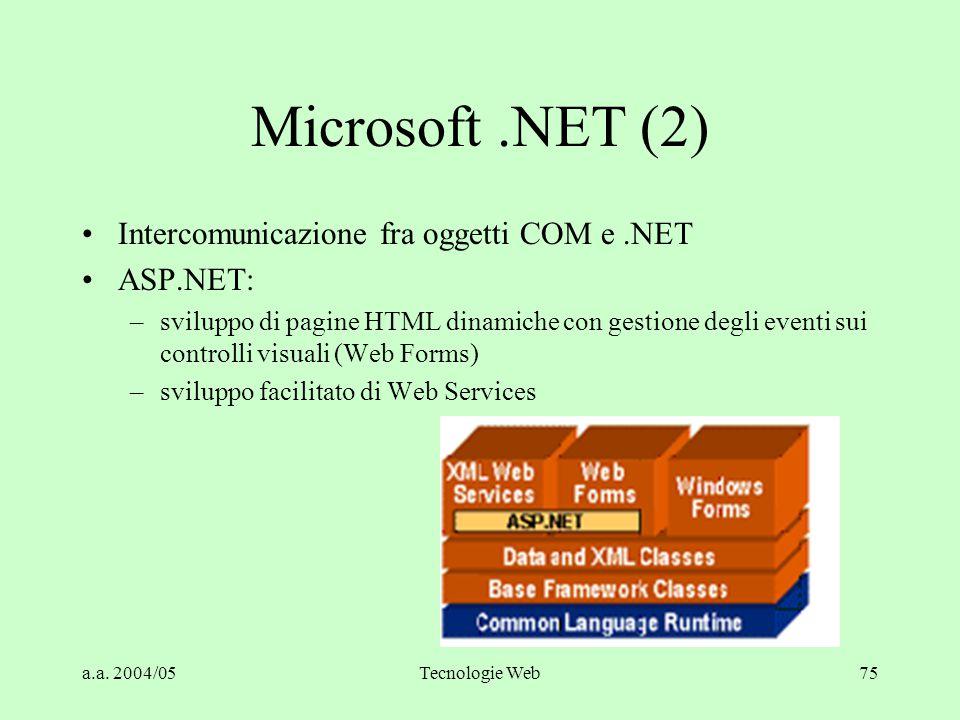 Microsoft .NET (2) Intercomunicazione fra oggetti COM e .NET ASP.NET: