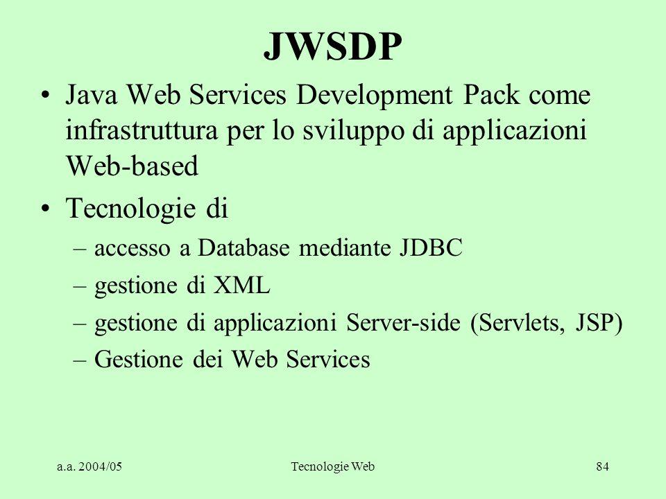 JWSDP Java Web Services Development Pack come infrastruttura per lo sviluppo di applicazioni Web-based.