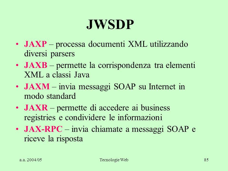 JWSDP JAXP – processa documenti XML utilizzando diversi parsers