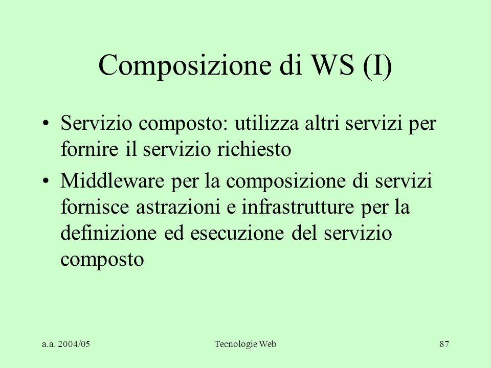 Composizione di WS (I) Servizio composto: utilizza altri servizi per fornire il servizio richiesto.