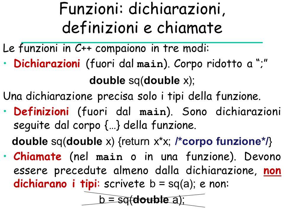 Funzioni: dichiarazioni, definizioni e chiamate
