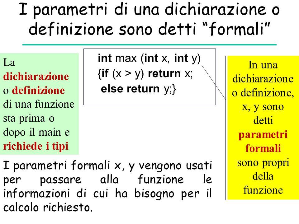 I parametri di una dichiarazione o definizione sono detti formali