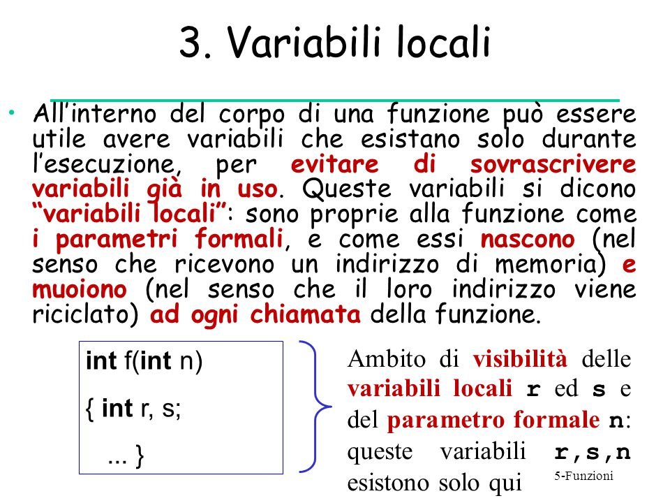 3. Variabili locali