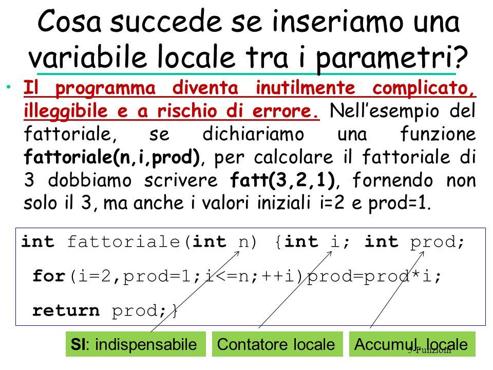 Cosa succede se inseriamo una variabile locale tra i parametri