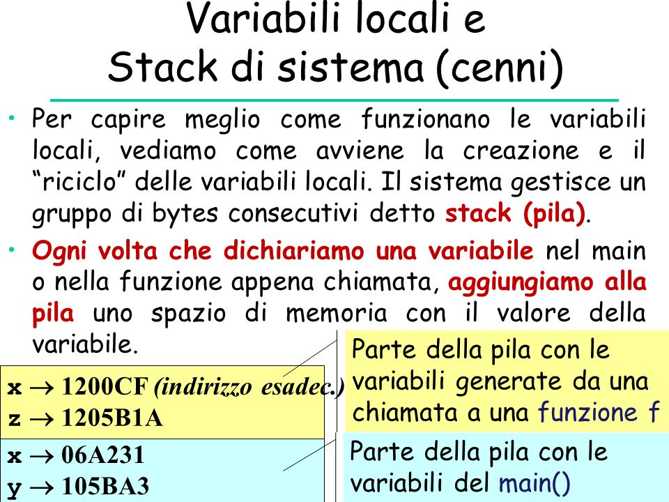 Variabili locali e Stack di sistema (cenni)