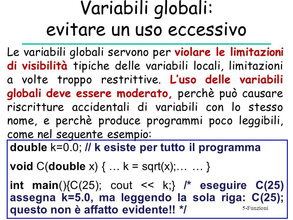 Variabili globali: evitare un uso eccessivo
