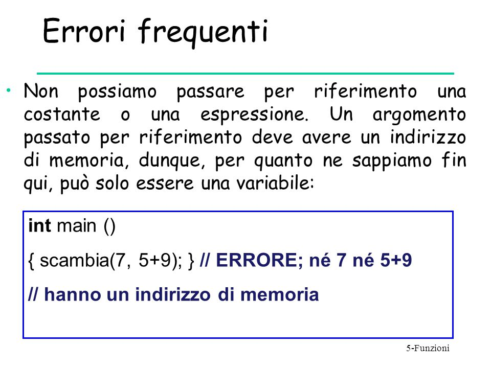 Errori frequenti