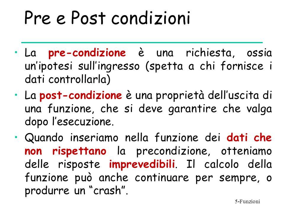 Pre e Post condizioni La pre-condizione è una richiesta, ossia un'ipotesi sull'ingresso (spetta a chi fornisce i dati controllarla)