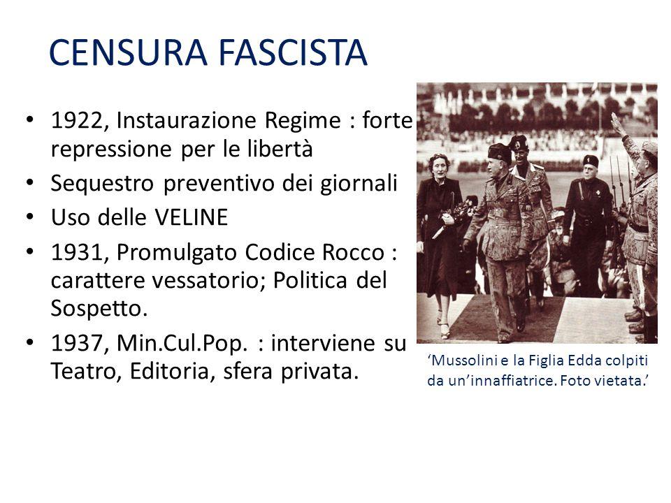 CENSURA FASCISTA 1922, Instaurazione Regime : forte repressione per le libertà. Sequestro preventivo dei giornali.