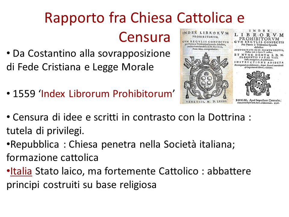 Rapporto fra Chiesa Cattolica e Censura