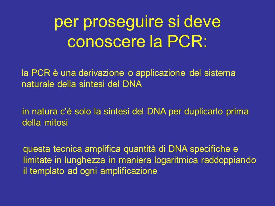 per proseguire si deve conoscere la PCR:
