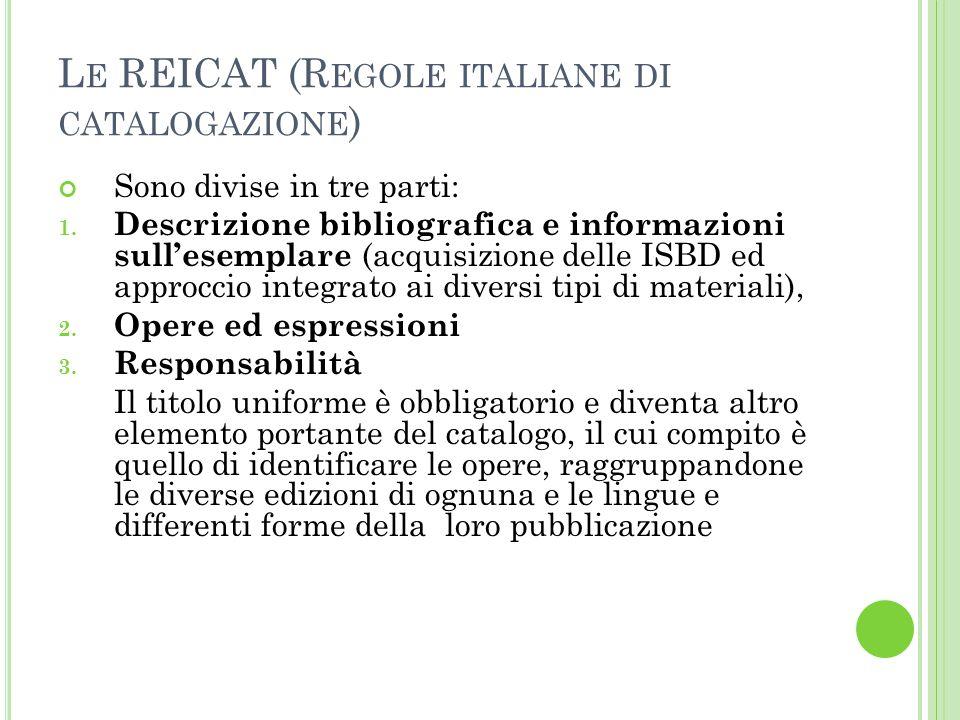 Le REICAT (Regole italiane di catalogazione)