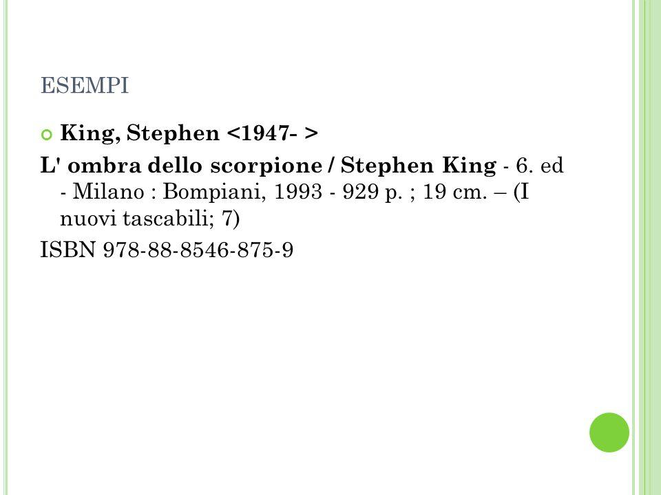 esempi King, Stephen <1947- >