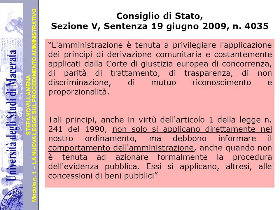 Consiglio di Stato, Sezione V, Sentenza 19 giugno 2009, n. 4035