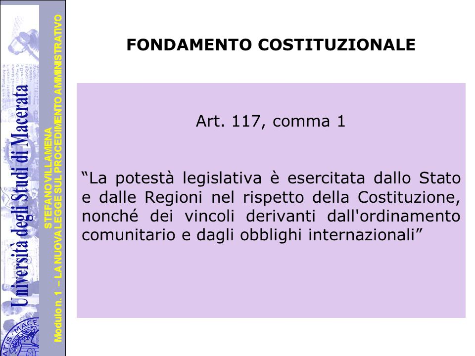 FONDAMENTO COSTITUZIONALE