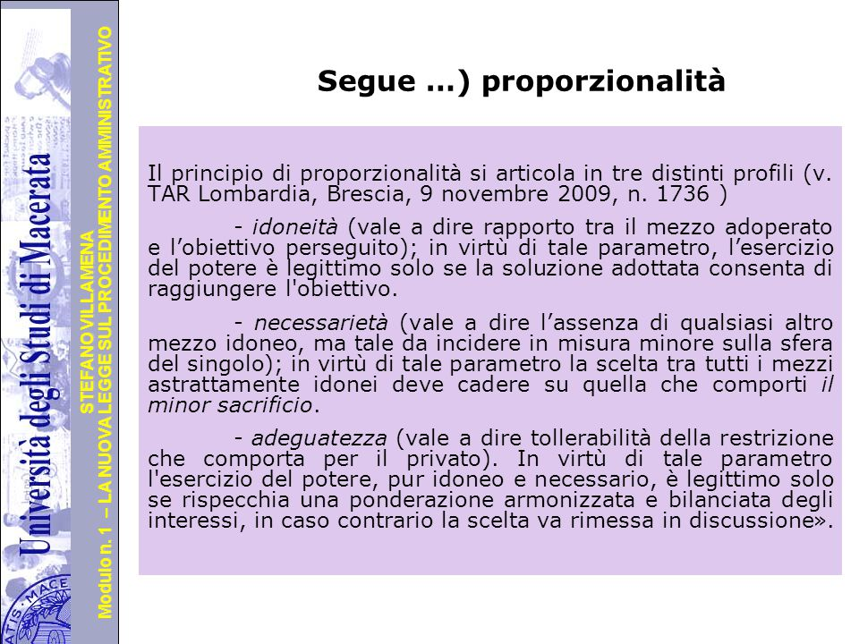 Segue …) proporzionalità
