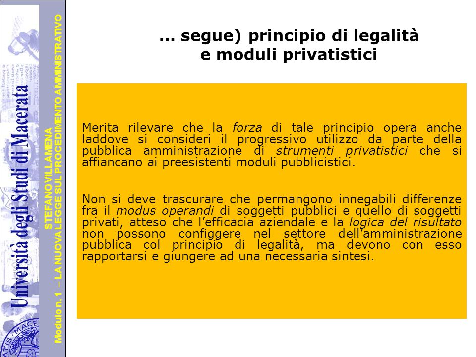 … segue) principio di legalità e moduli privatistici