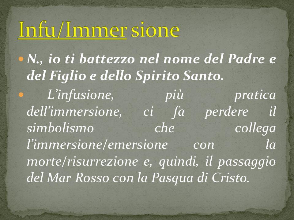 Infu/Immer sione N., io ti battezzo nel nome del Padre e del Figlio e dello Spirito Santo.