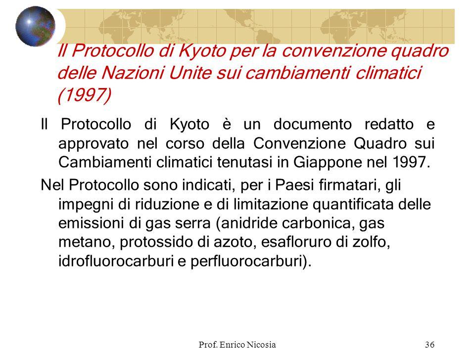 Il Protocollo di Kyoto per la convenzione quadro delle Nazioni Unite sui cambiamenti climatici (1997)