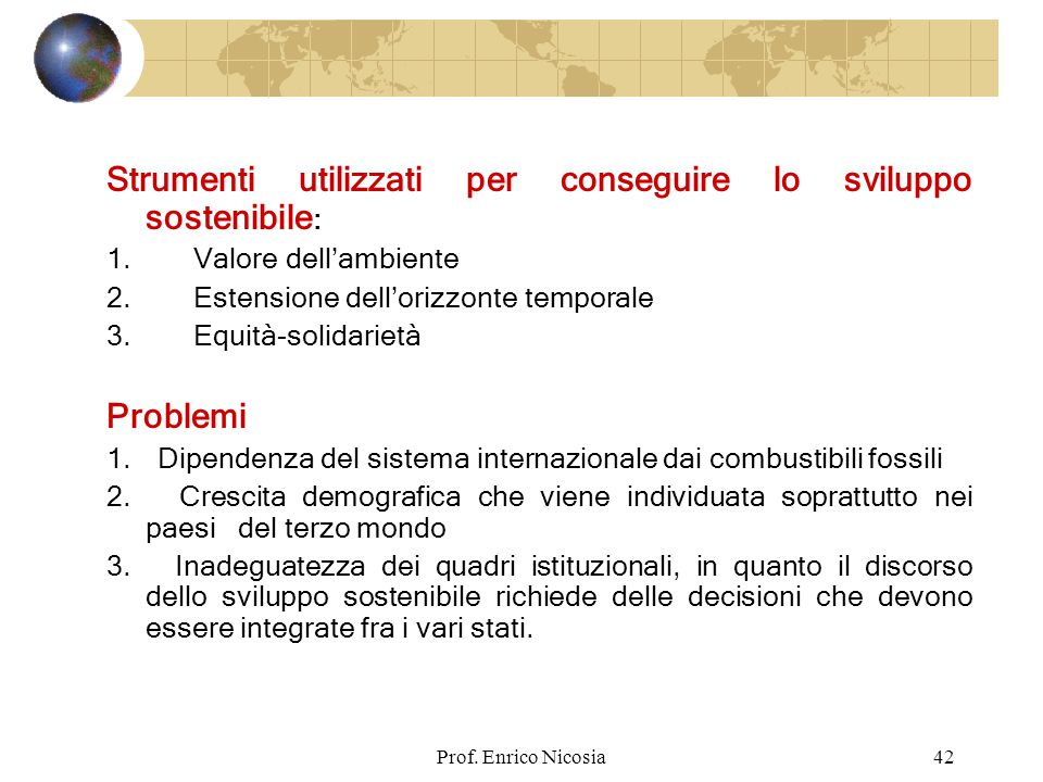 Strumenti utilizzati per conseguire lo sviluppo sostenibile: