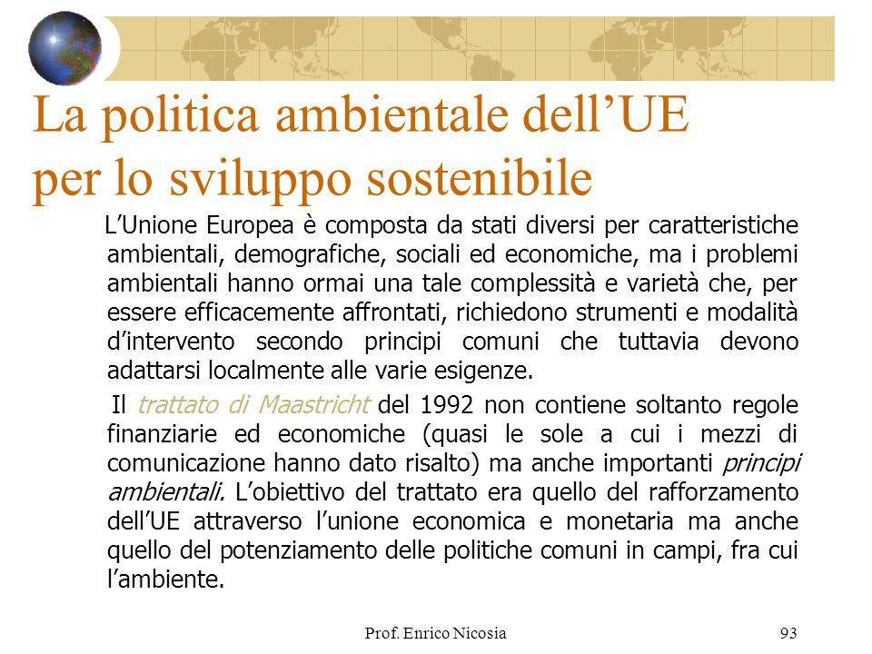 La politica ambientale dell'UE per lo sviluppo sostenibile