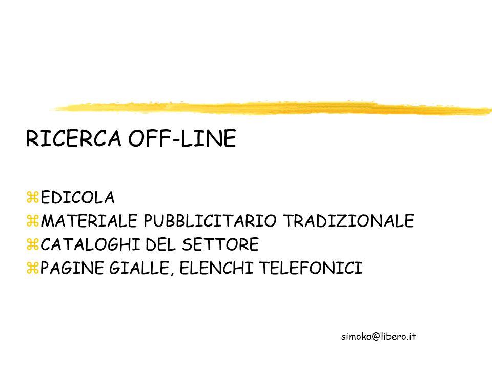 RICERCA OFF-LINE EDICOLA MATERIALE PUBBLICITARIO TRADIZIONALE