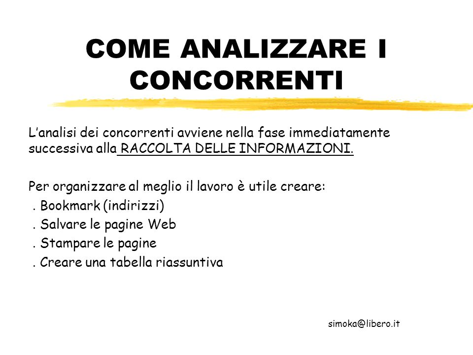 COME ANALIZZARE I CONCORRENTI