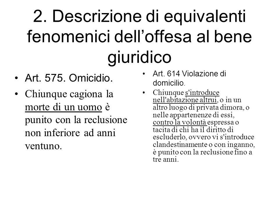 2. Descrizione di equivalenti fenomenici dell'offesa al bene giuridico