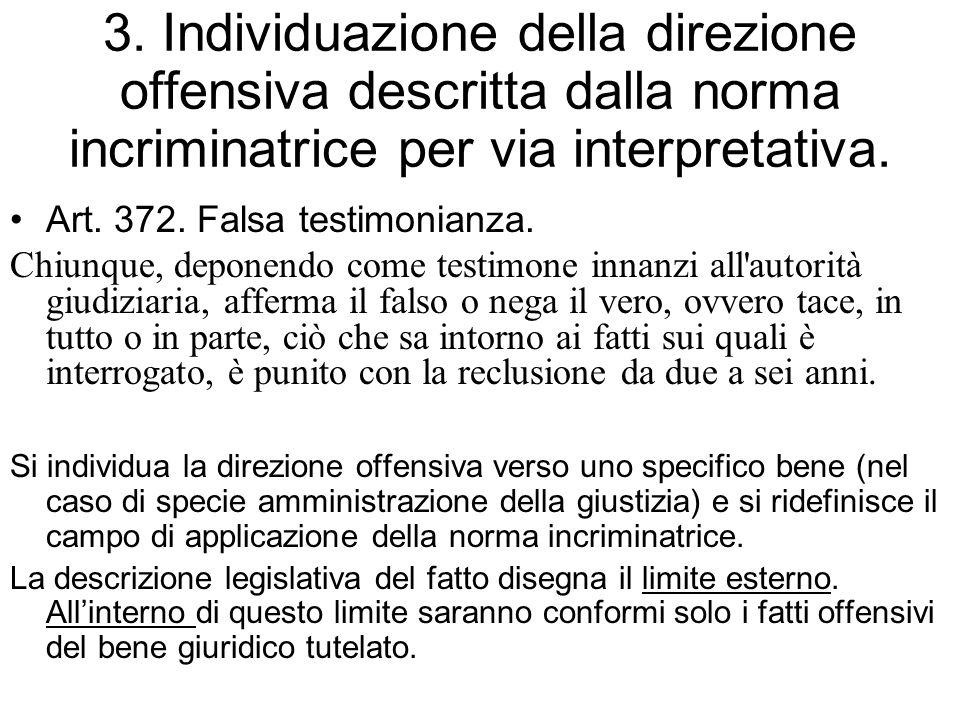3. Individuazione della direzione offensiva descritta dalla norma incriminatrice per via interpretativa.