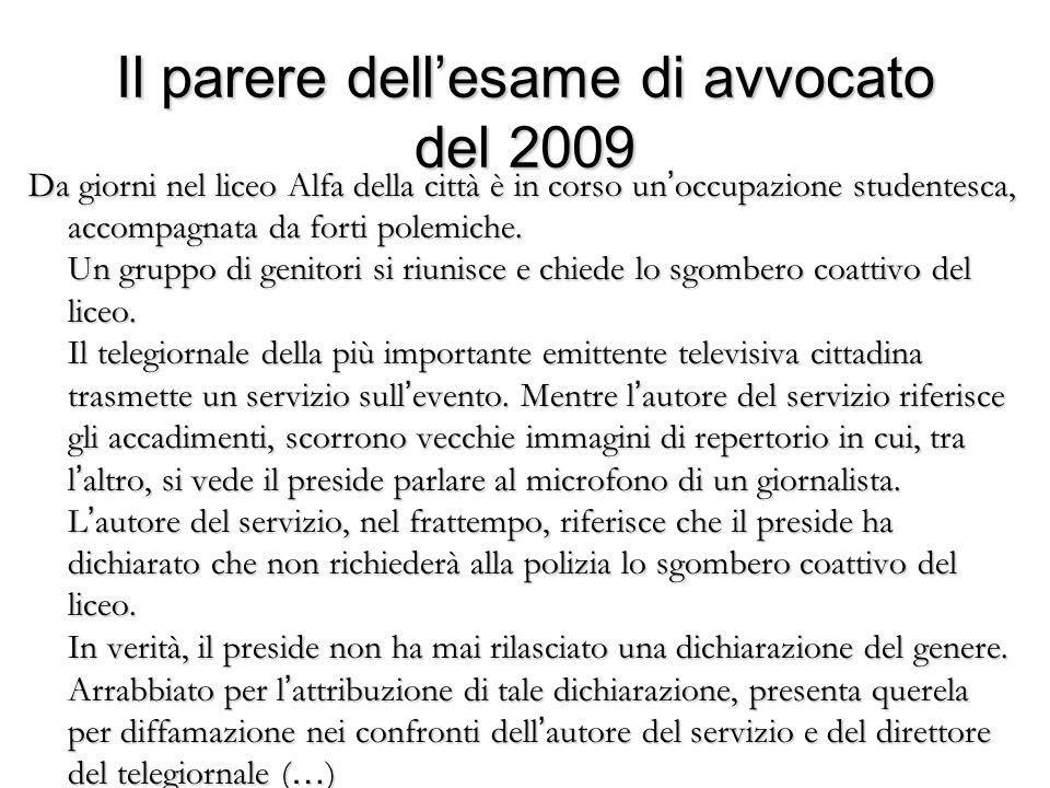 Il parere dell'esame di avvocato del 2009