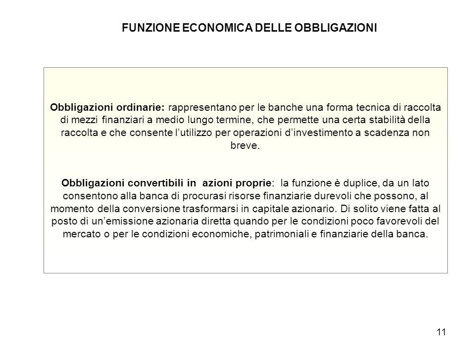 FUNZIONE ECONOMICA DELLE OBBLIGAZIONI