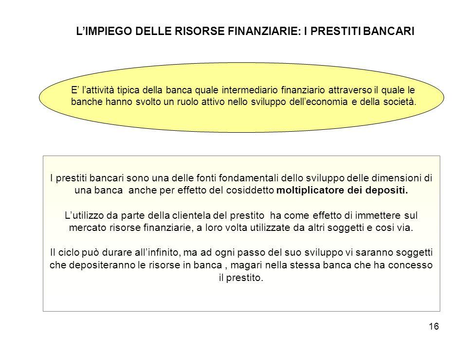 L'IMPIEGO DELLE RISORSE FINANZIARIE: I PRESTITI BANCARI