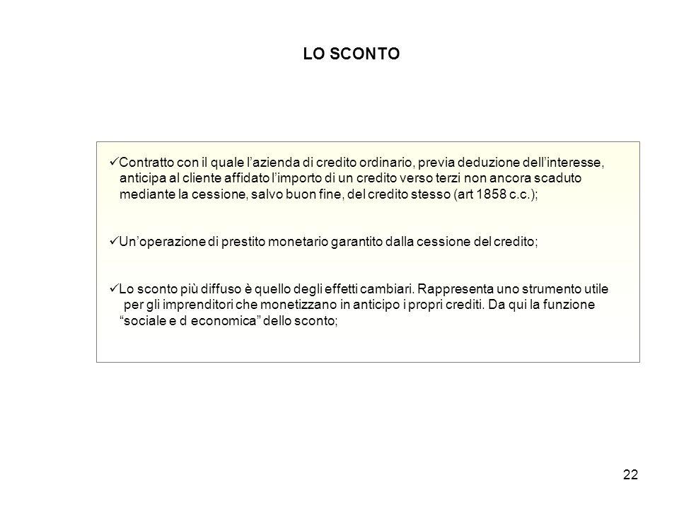 LO SCONTO Contratto con il quale l'azienda di credito ordinario, previa deduzione dell'interesse,